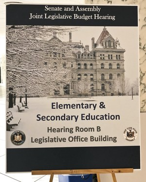Signage: Senate and Assembly Joint Legislative Budget Hearing on Elementary and Secondary Education, Hearing Room B, Legislative Office Building.