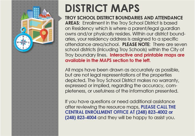 Troy School District boundaries and attendance area maps link.  This links to another webpage.