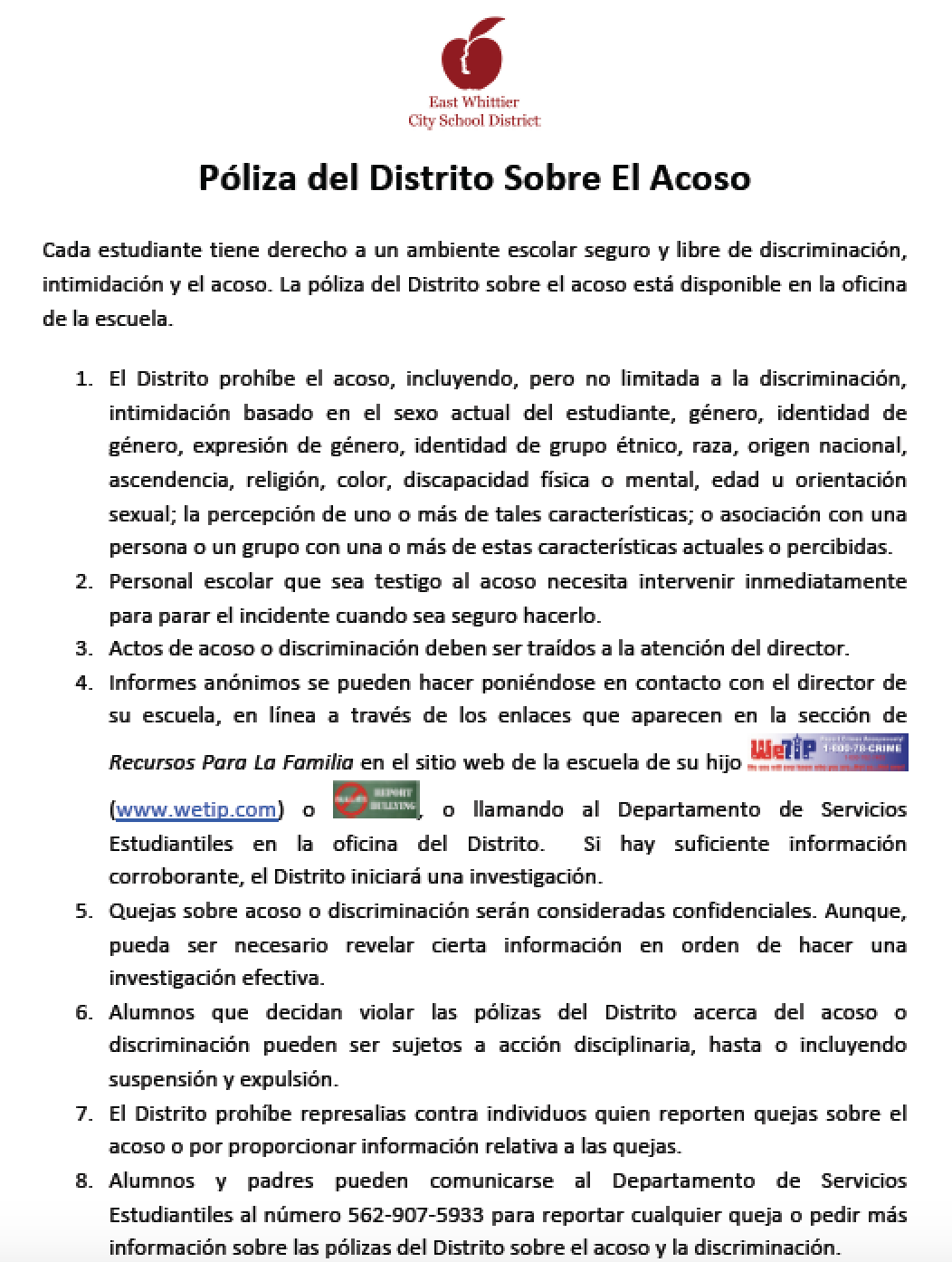 EWCSD district policy on bullying in Spanish