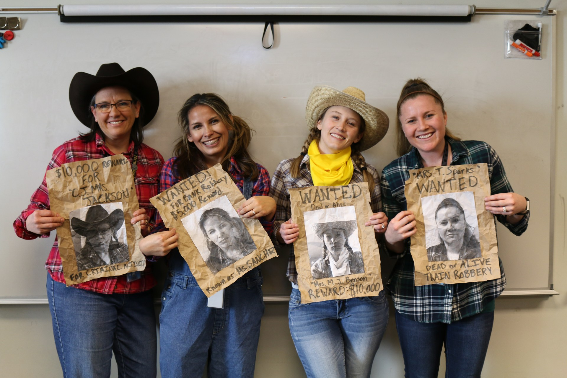 Picture of four 2nd grade teachers on Westward Expansion day