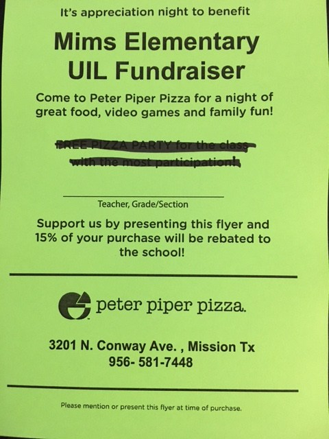Peter Piper Pizza Family Night Flyer