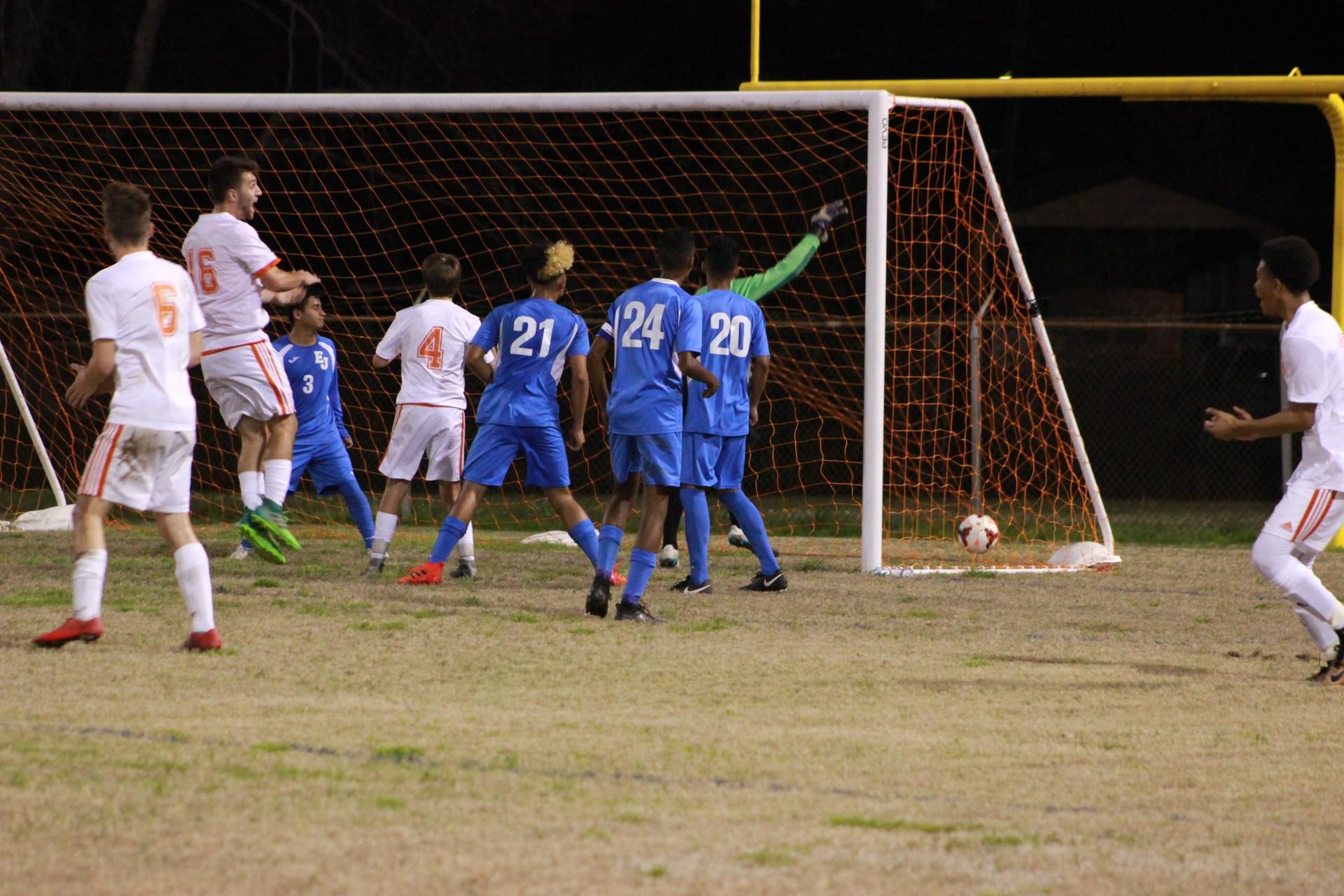 Soccer team scores a goal against East Jefferson