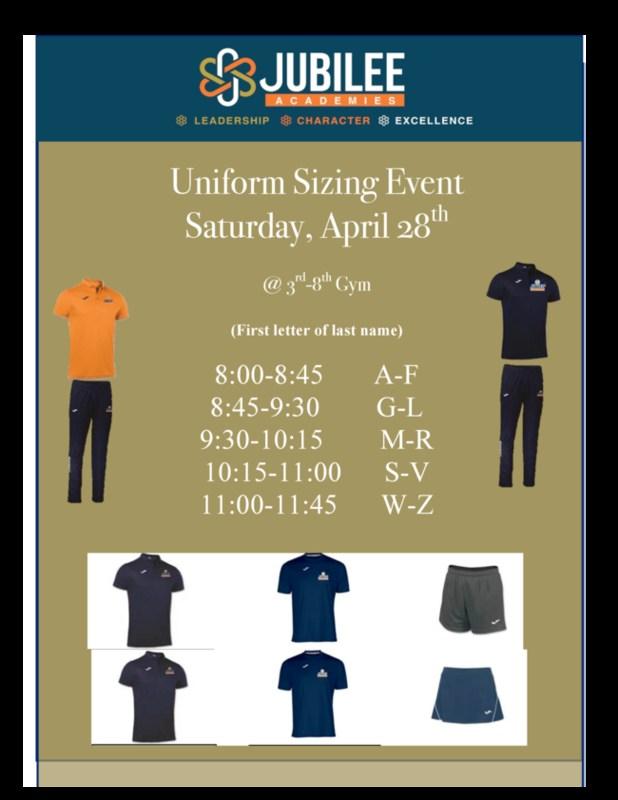 Uniform Sizing Event - April 28 Featured Photo