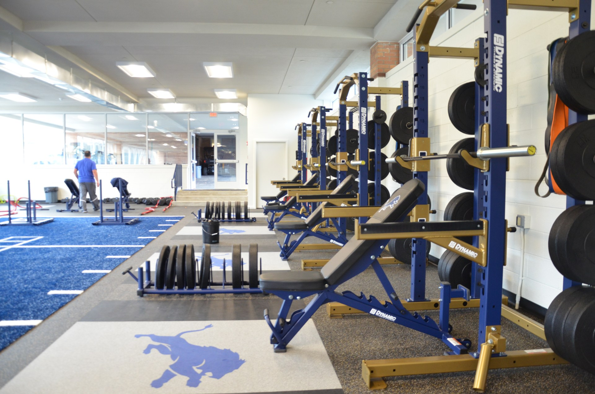 Side view of weight racks in Coach Paternostro Training Center
