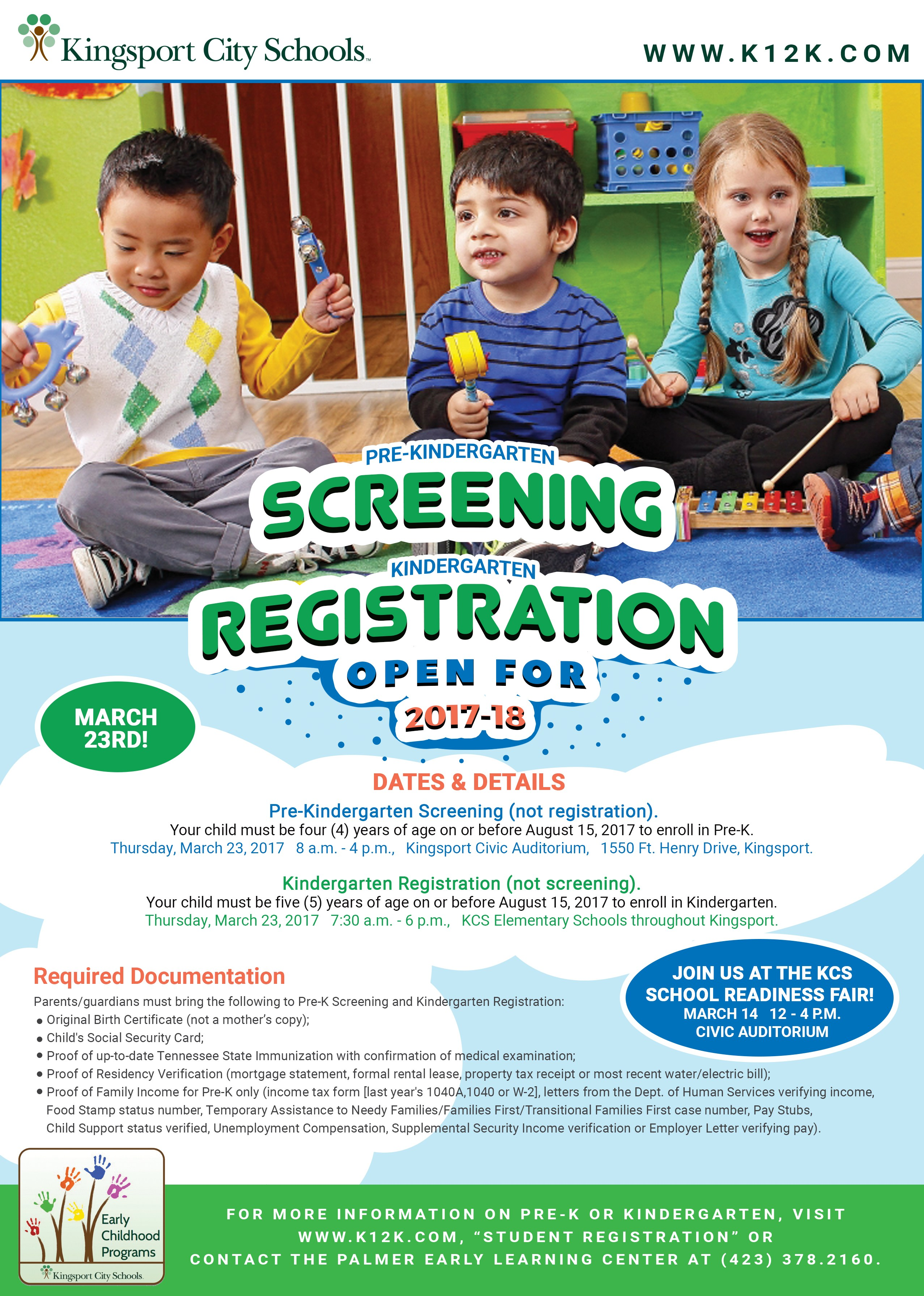 Kingsport City Schools Pre-K Screenings and Kindergarten Registration to be  Held for 2017-2018 School Year