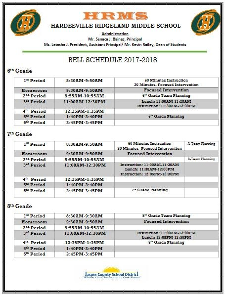 Bell Schedule by Grade Level