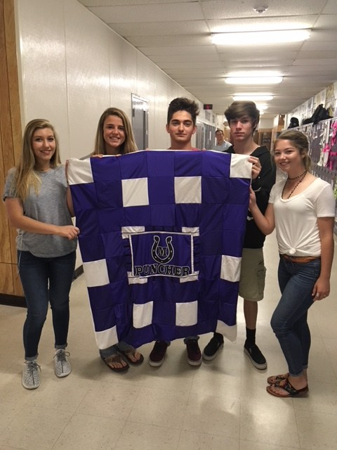 Mrs. Dudney's Human Services class made this 'Puncher Pallet' from some old basketball jerseys from Coach John Keller.  The blanket may be auctioned off next year with proceeds benefitting the FCCLA Scholarship.