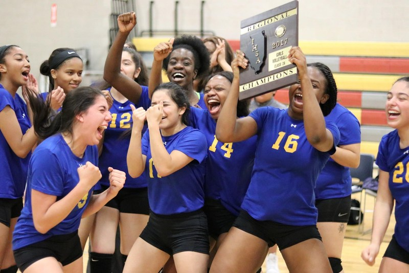 Girls' Volleyball takes IHSA Regional Championship, first time in HT's history! Featured Photo