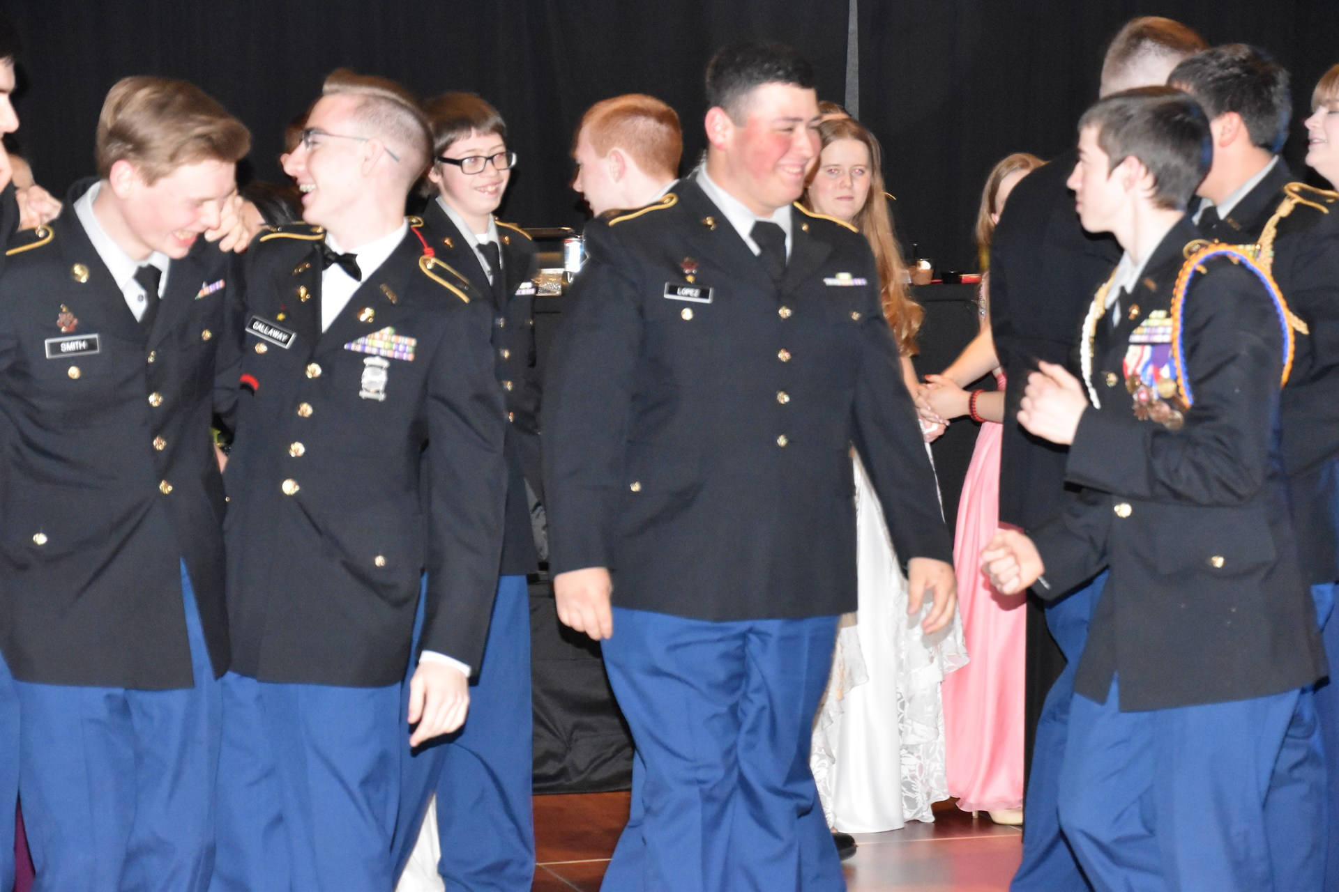 E.V.H.S. JROTC students on the dance floor.