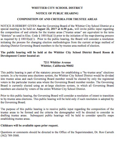 Photo of the Notice of Public Hearing