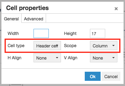 set Cell type to Header row and Scope to Column