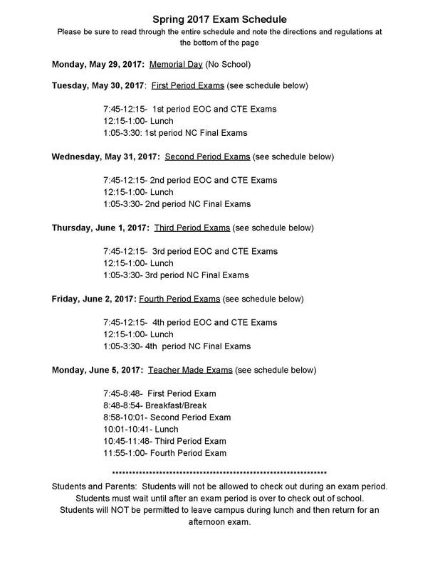 Spring 2017 Exam Schedule Thumbnail Image