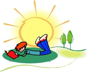 boy reading in sun
