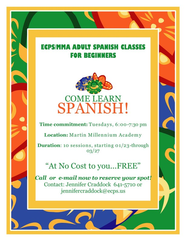 ECPS to offer Free Adult Spanish classes beginning in January Thumbnail Image