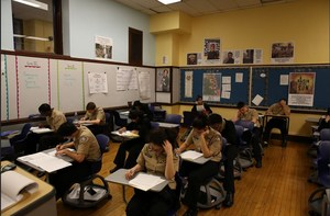 RNA students hard at work taking a test