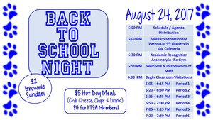Back to School Night is August 24, 2017