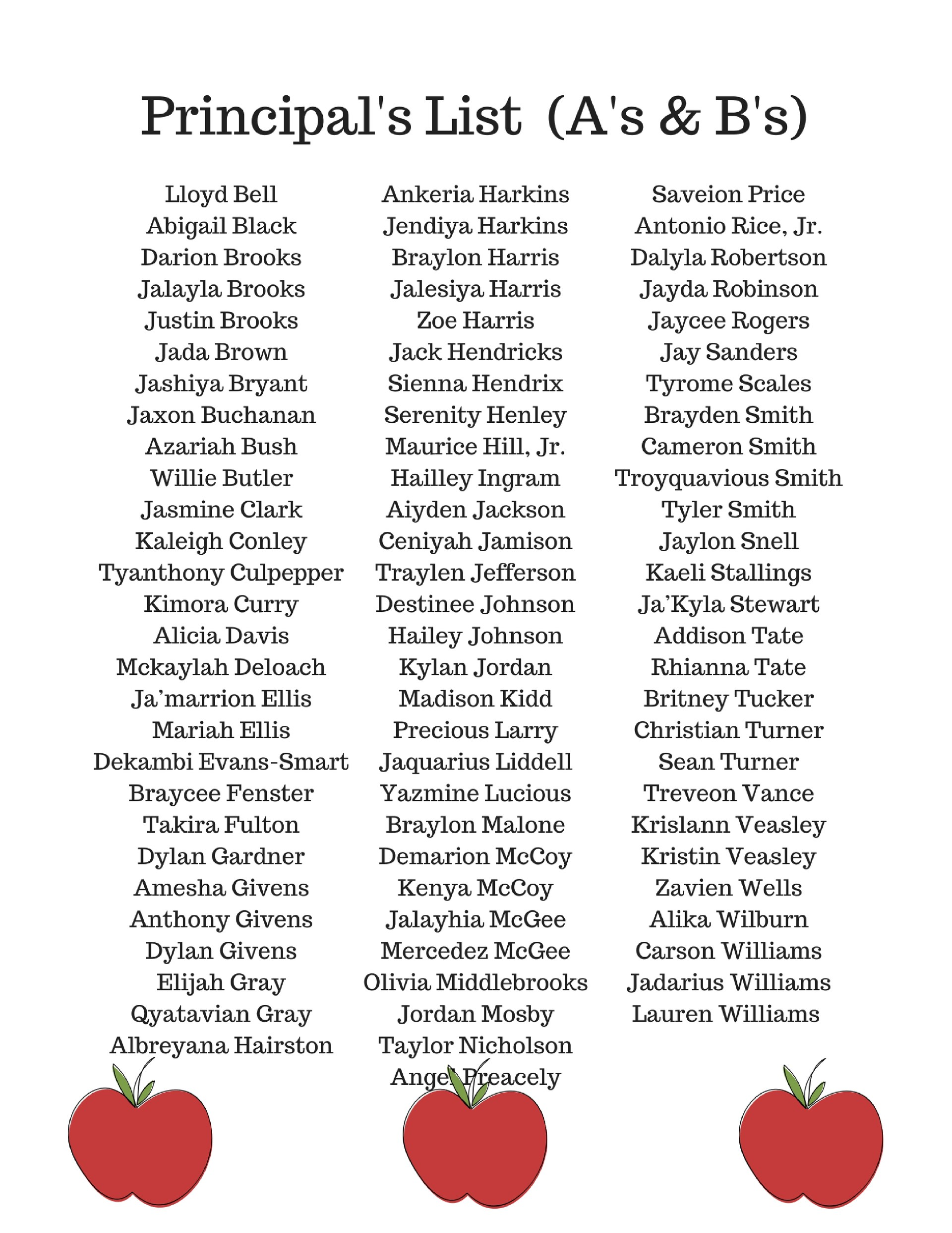 Principal's List