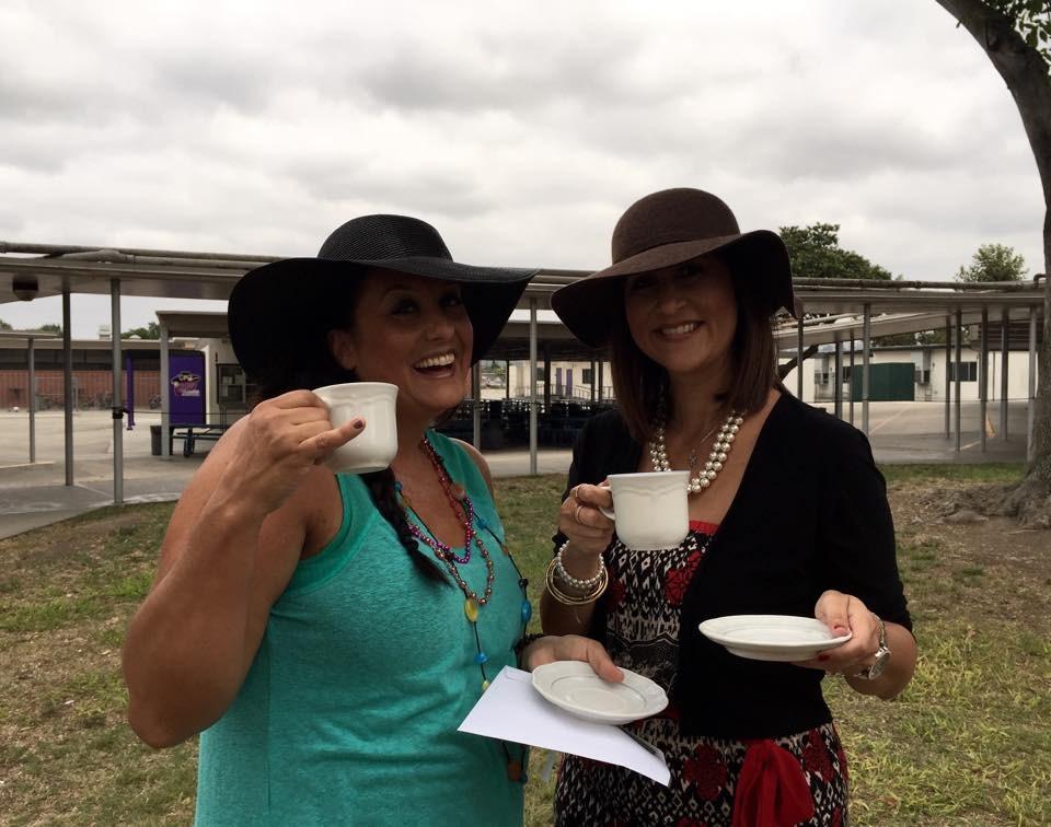 Granada Middle School staff at a tea