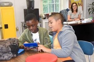 two Van Cleve students work on their project.