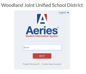 Aeries login screen