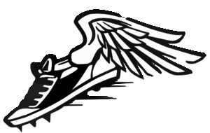 Clip Art of a Track and Field Icon--a shoe with wings
