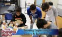 Students shown working on parts for a robotics competition
