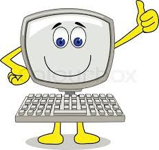 a computer with a smiley face and thumbs up