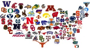 College icons creating US map
