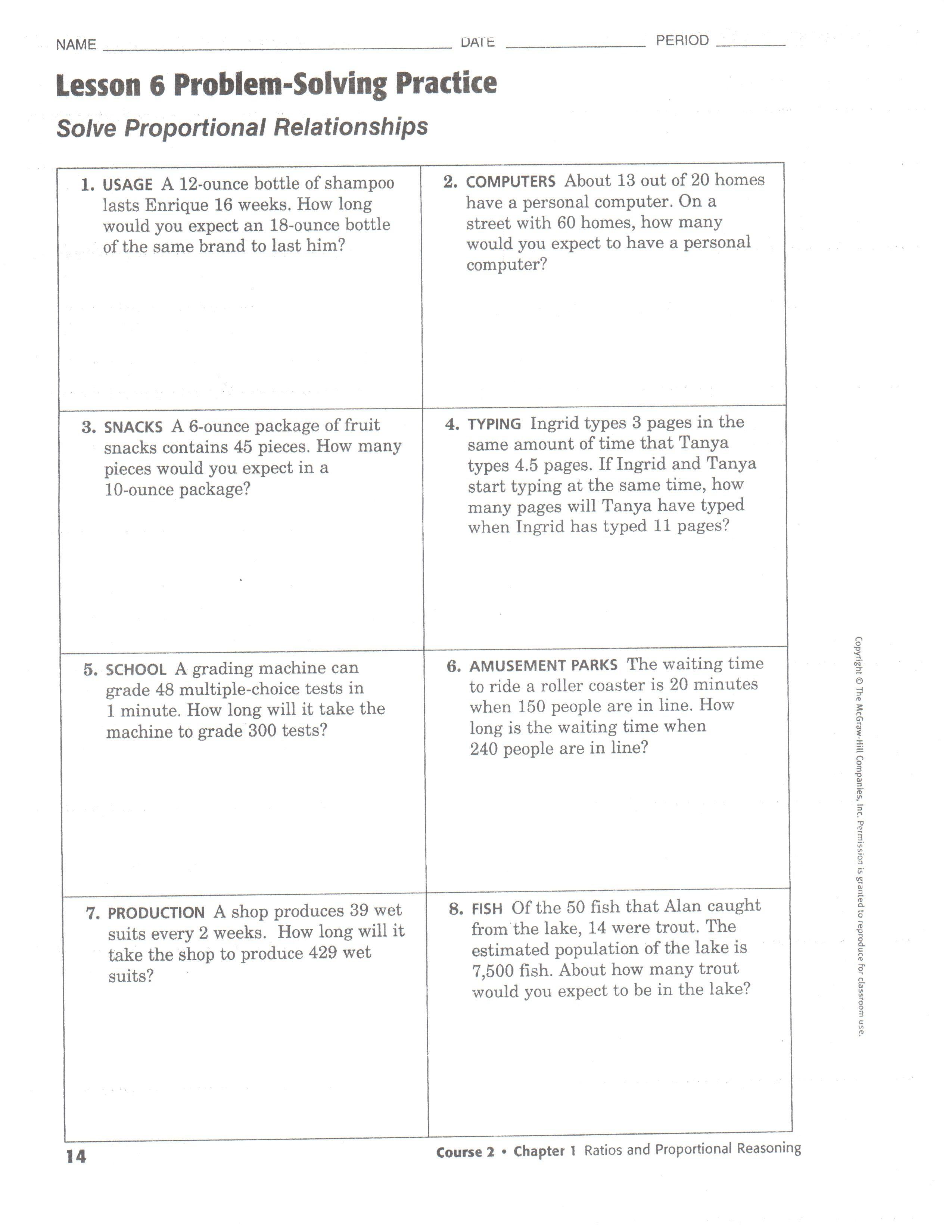 worksheet Proportional Reasoning Worksheets millikan middle school affiliated charter performing arts magnet ch1 l6 problem solving practice jpeg worksheet