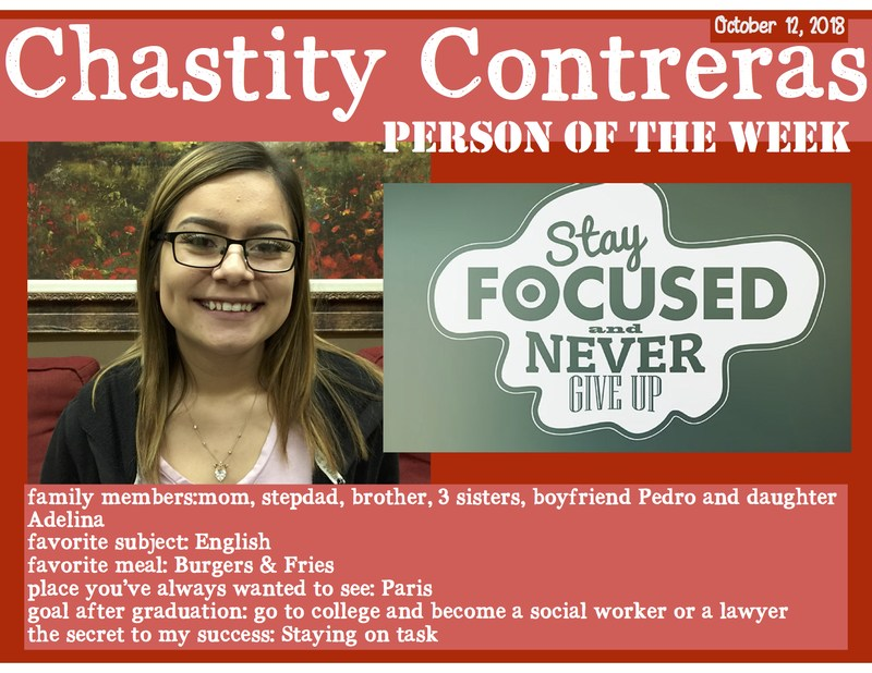 Chastity Contreras - This week's HCAL Person of the Week