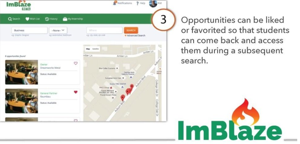 Opportunities can be liked or favorited so that students can come back and access them during a subsequent search.