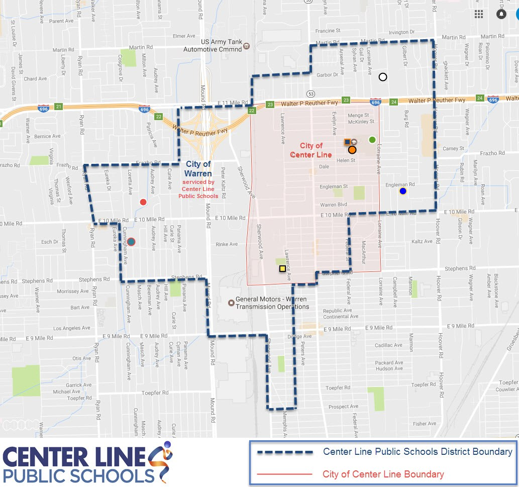 map with boundary lines of Center Line Public Schools