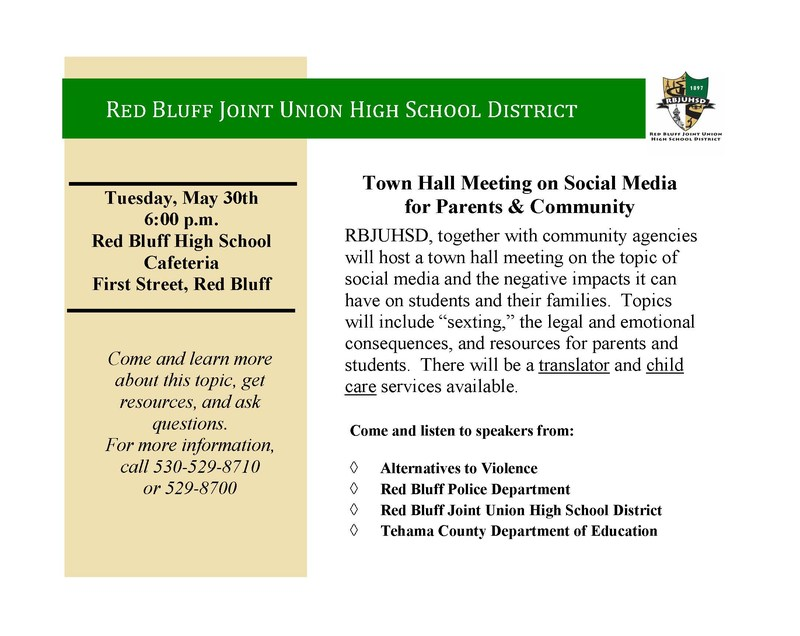 Town Hall Meeting on Social Media  for Parents & Community on 5/30/17 at 6 PM in RBHS Cafeteria