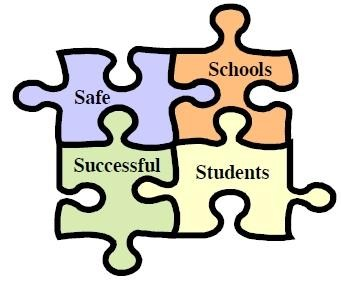 four puzzle pieces with safe, schools, successful, and students written on each piece