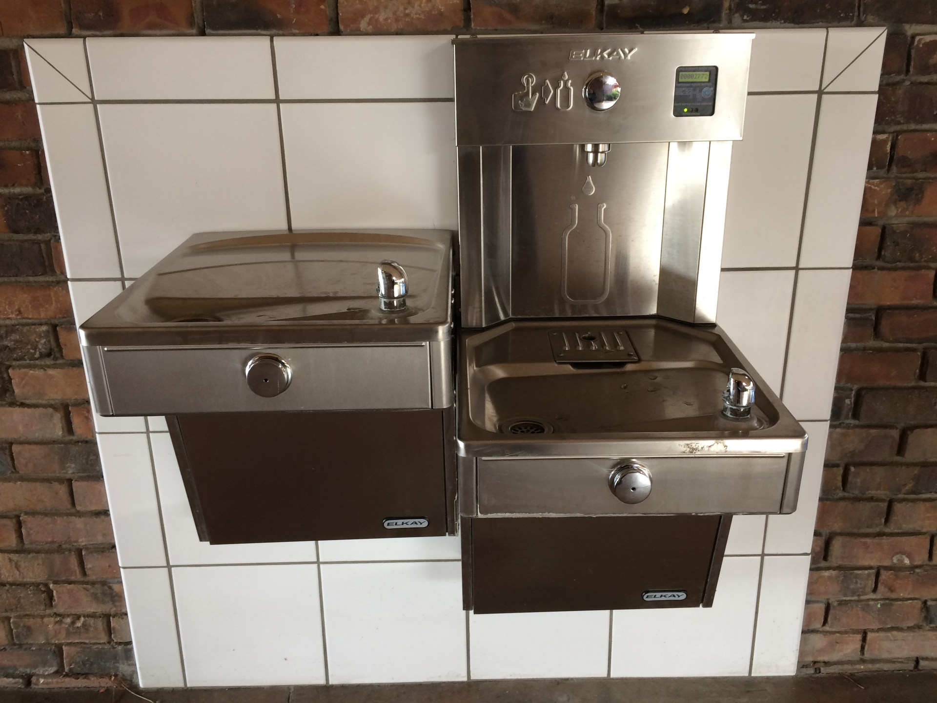 Image of new water fountain and bottle filler