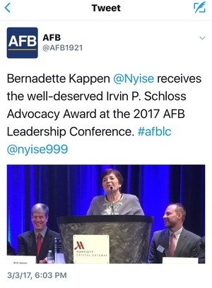 AFB Tweet on the Award