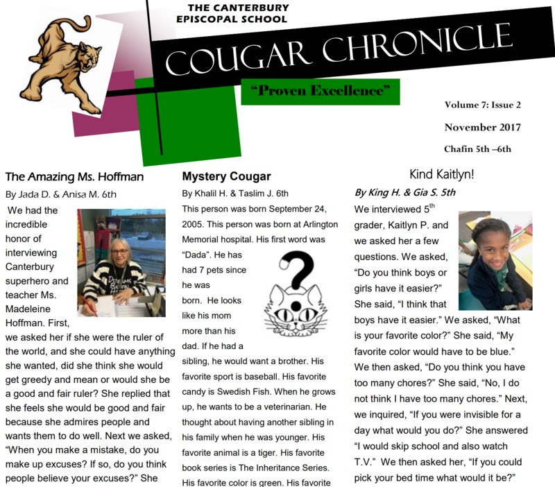 Second Issue of the Cougar Chronicle Thumbnail Image