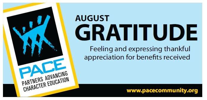 PACE Character Trait for August - Gratitude Thumbnail Image