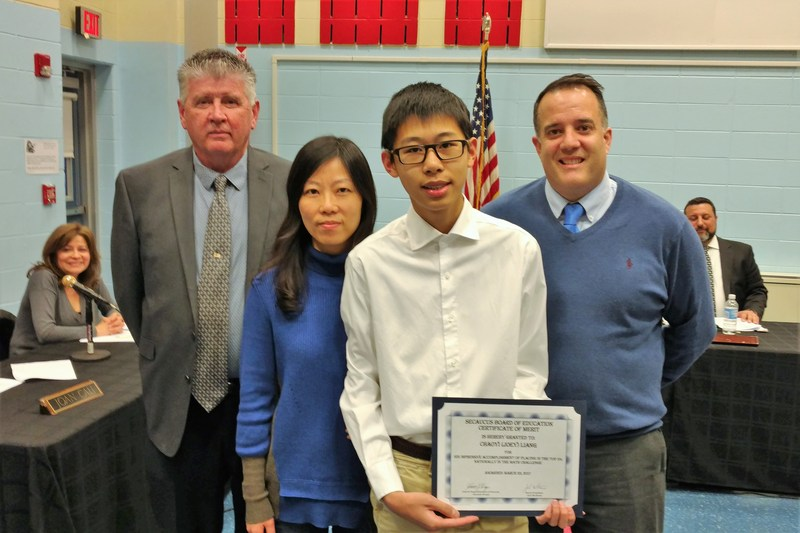 Secaucus Board of Education Honors Middle School Student Joey Liang Thumbnail Image