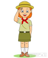 Girl Scout in uniform saluting