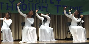 A close up photo of Baker Middle School Dancers performing at the 2018 Black History Program