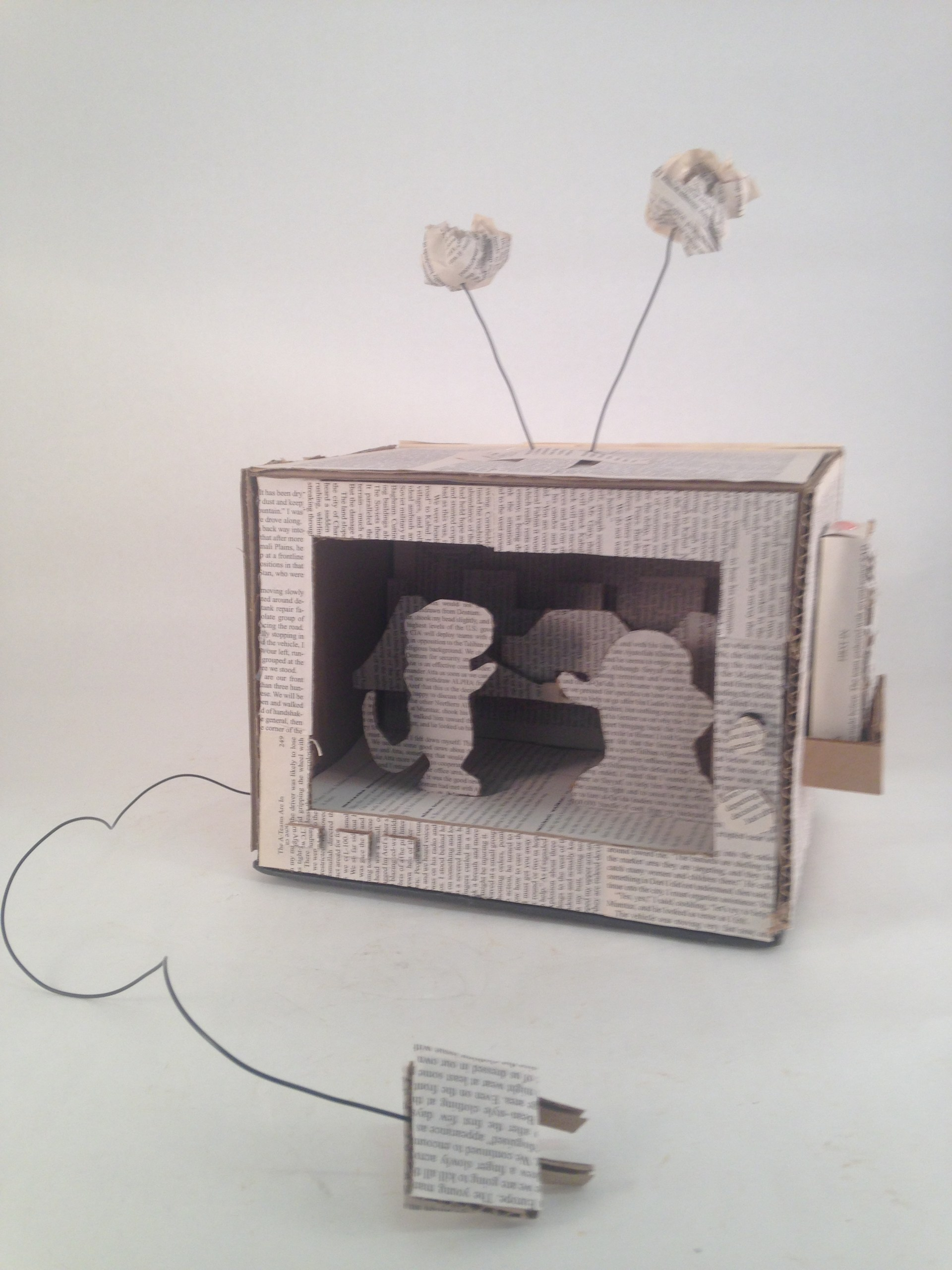 paper and cardboard sculpture of tv
