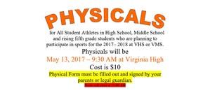 May 13 Physicals $10 at Virginia High
