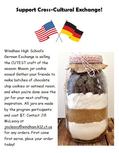 Windham High School's German Exchange is selling the CUTEST craft of the season: Mason jar cookie mixes! Thumbnail Image