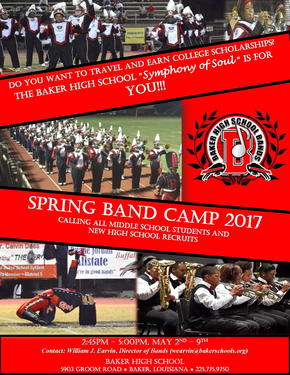 Baker High School Band Flyer Advertising the 2017 Spring Band Camp - May 2nd - 9th