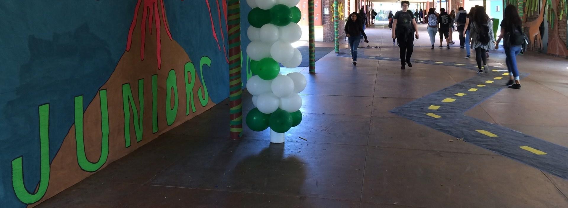 Image of Juniors banner in main campus corridor