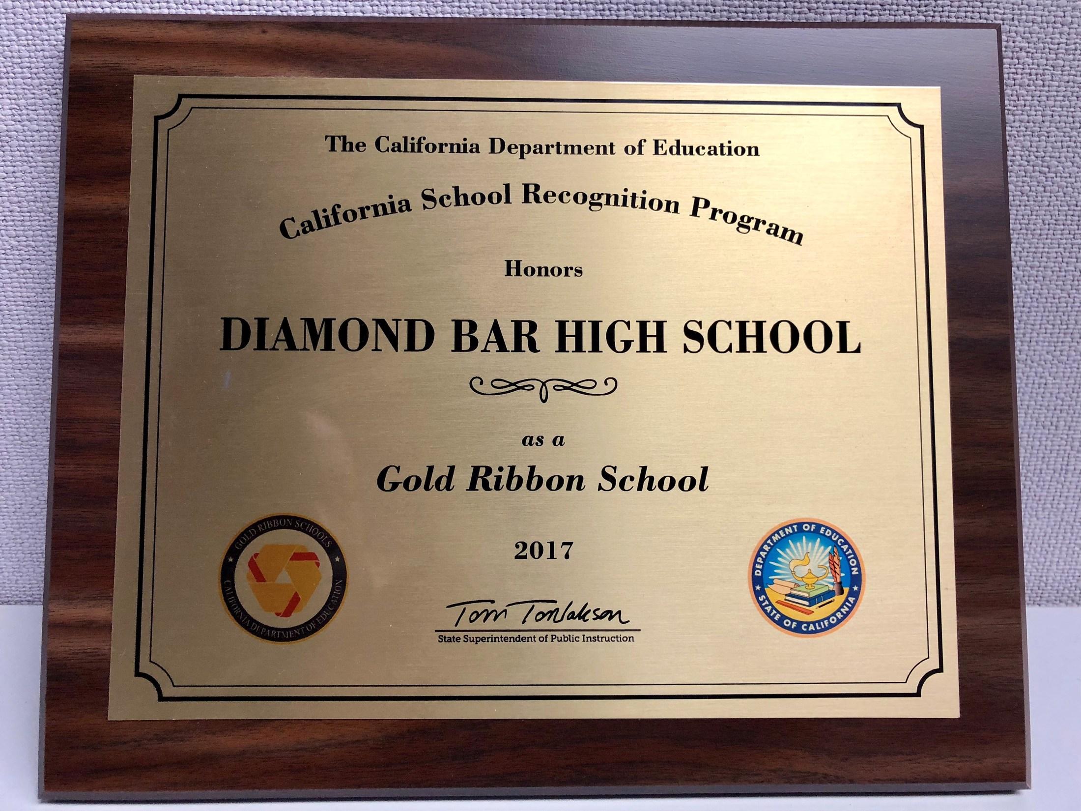 gold ribbon school 2017 awards diamond bar high school