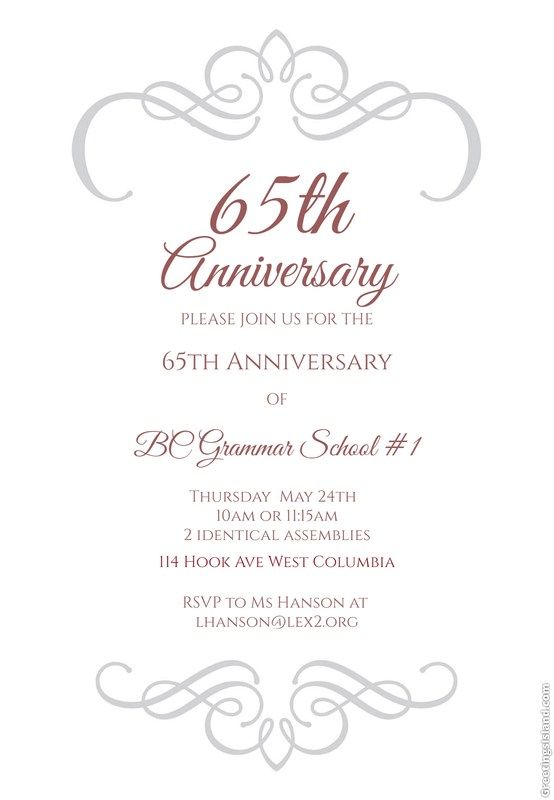 65th Anniversary Celebration invitation