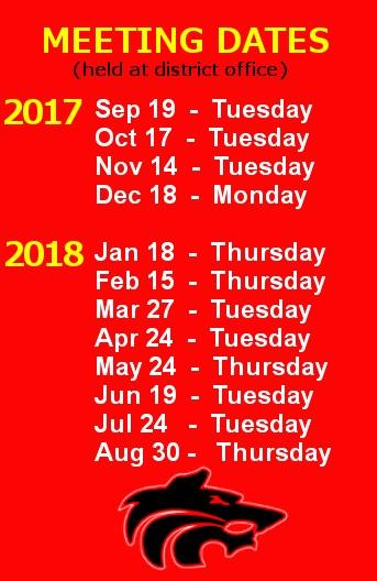School Board Meeting Dates Image School Board Meeting Dates - Sep 19 Tuesday - Oct 17 Tuesday - Nov 14 Tuesday - Dec 18 Monday - Jan 18 Thursday - Feb 15 Thursday - Mar 27 Tuesday - Apr 24 Tuesday - May 24 Thursday - Jun 19 Tuesday - Jul 24 Tuesday - Aug 30 Thursday