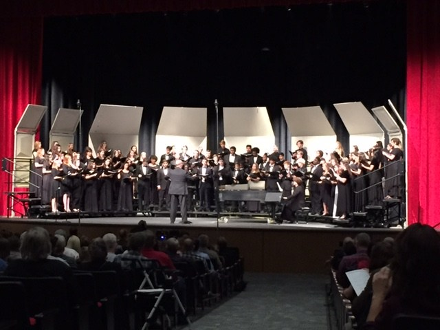 Large School Mixed Choir on stage